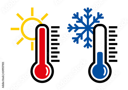 Photo  Thermometer icon or temperature symbol, vector and illustration