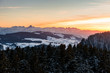 winter sunset in the Bernese Alps