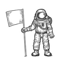 Astronaut Spaceman With Flag S...