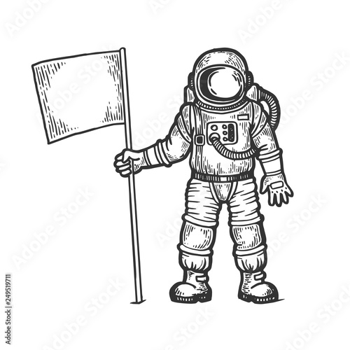 Cuadros en Lienzo Astronaut spaceman with flag sketch engraving vector illustration