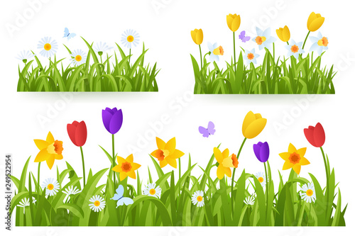 Valokuvatapetti Spring grass border with early spring flowers and butterfly isolated on white background