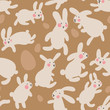 Seamless vector pattern with eggs and rabbits on brown background. Hares jump all around and collect Easter eggs. Kawaii pattern for little kids, gifts, interior and easter goods. Hello Easter day