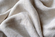 canvas print picture - Gathered and folded texture of woven linen fabric