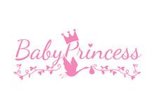 Baby Princess, Children Wall Decals, Wording Design, Kids Art Design,  Isolated On White Background. Blue Crown Illustration And Stork Caring Bag  Cup Design, T-shirt Design, Banner...