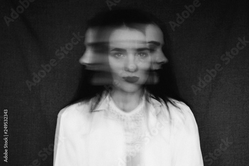 crazy portrait of girl with mental disorders and split personality Fotobehang