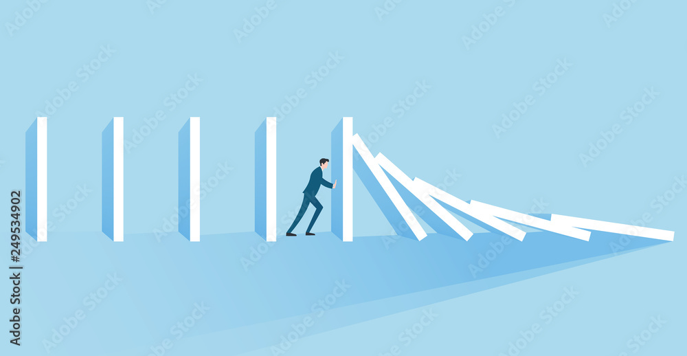 Fototapeta Business concept of a businessman trying to stop domino effect Banner Concept