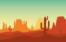 Desert Sand Landscape With Mountains And Cactus Silhouette On The Wild West Texas In Flat Cartoon Style