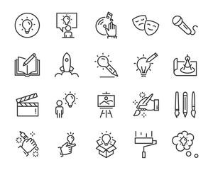 zestaw kreatywnych ikon, takich jak myślenie, rysunek, praca, edukacja