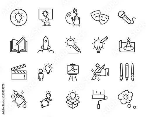 set of creative icons , such as thinking, drawing, work, education Canvas Print