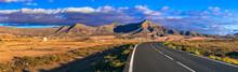 Spectacular Scenery Of Volcanic Fuerteventura. Beautiful Nature Landscape Of Canary Islands