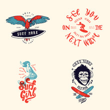 Surfing T-shirt Design Set: Parrot With Surfboard, See You On The Next Wave, Surfing Girl, Surfing Monkey