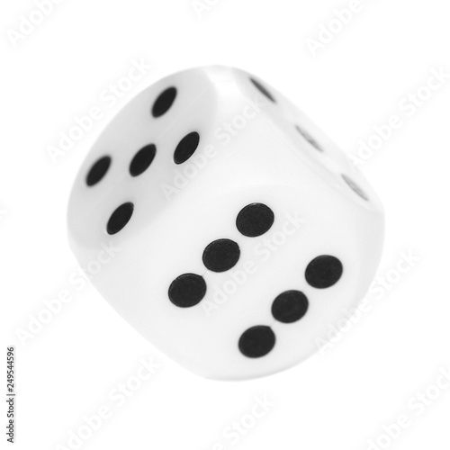 Foto  Gambling dice, macro isolated on white background, top view and clipping path, s