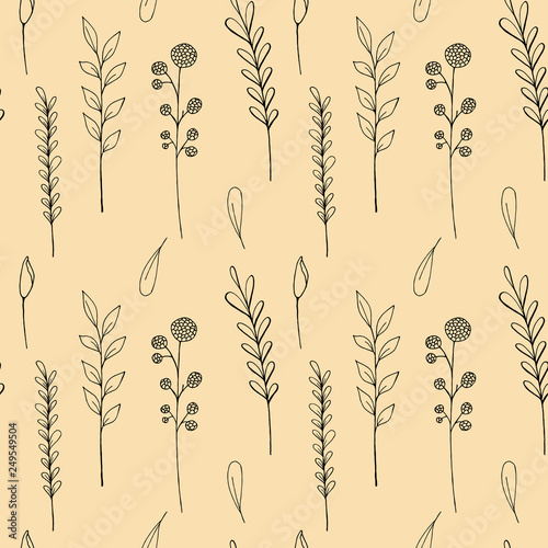 Fotografie, Obraz  Raster pattern of ink drawing wild plants, herbs and flowers, monochrome botanic