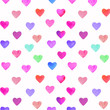 Hand painted watercolor hearts pattern for Valentine's day. Romantic blue, pink heart for wedding invitations, holiday cards, greeting cards, posters, books, envelopes, photo album.