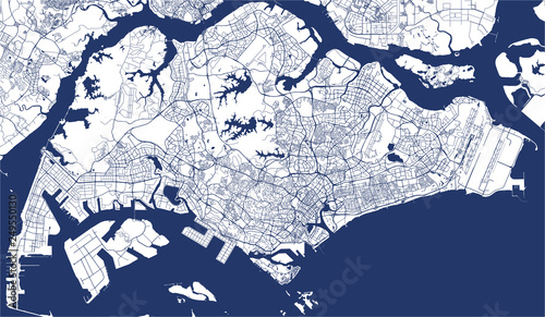 Fotografie, Obraz vector map of the city of Singapore, Republic of Singapore