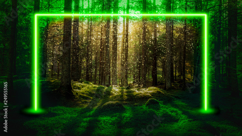 In de dag UFO Green fluorescent neon laser lights in magical forest landscape. Mysterious UFO portal gate concept background.