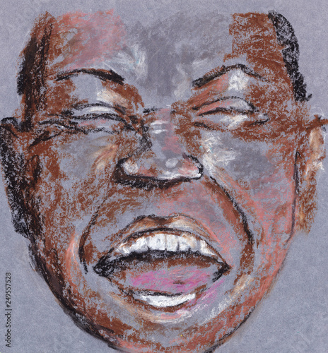 Louis Armstrong smile. Oil Pastel Canvas Print