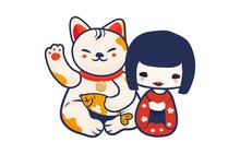 Anime Manga Styled Vector Illustration: Kawaii Japanese Teen Girl And Maneki Neko Lucky Cat Isolated. Cute Kokeshi Doll And Maneki Neko Beckoning Kitty As A Charm Symbol Of Luck And Japan.