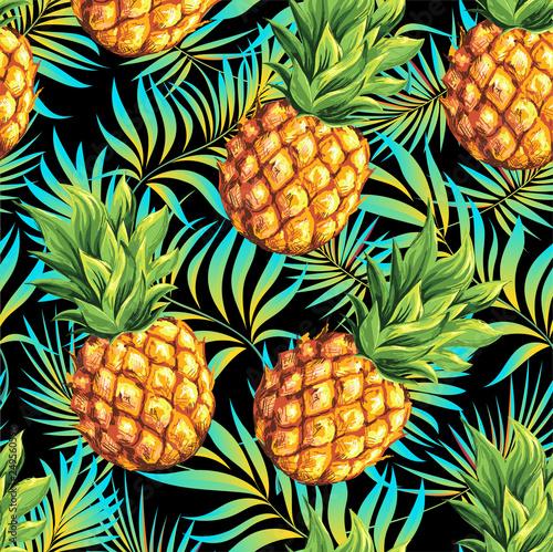 Fototapeta Ananas  ananas-wzor-wektor-kwiatowy-wzor