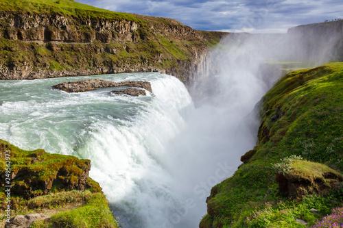 Garden Poster Forest river Gullfoss waterfall Hvita river Southwest Iceland Scandinavia