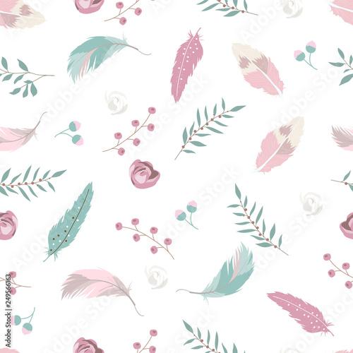 pastelowy-recznie-rysowane-wzor-z-pior-roza-lisc-i-kwiat