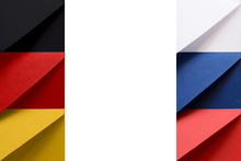 Gemany And Russian Flags Made From Envelopes