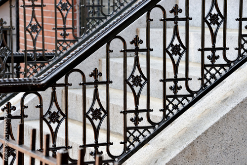 Cuadros en Lienzo Wrought iron handrail and granite front steps