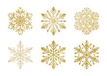 A Golden Snowflakes Set. Elegant Christmas Snow
