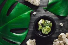 Nephrite Jade With Smoky Quartz And Monstera