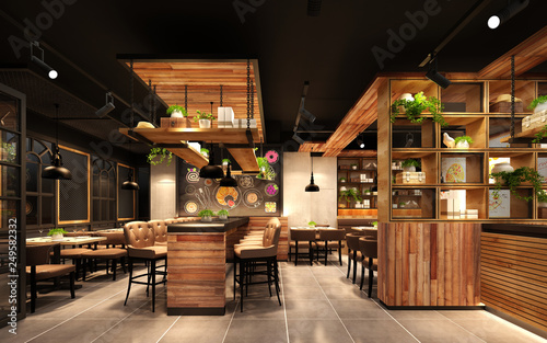Spoed Foto op Canvas Restaurant 3d rende render luxury restaurant cafe