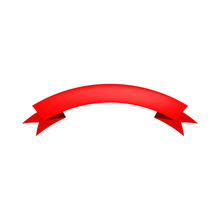 Red Blank Arched Ribbon On Whi...