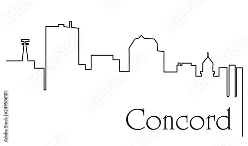 Canvastavla Concord city one line drawing abstract background with cityscape