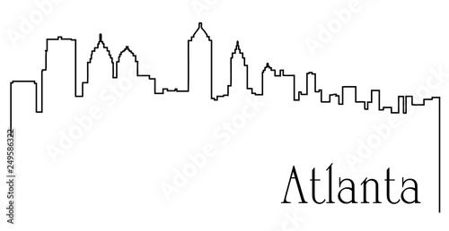 Photo Atlanta city one line drawing abstract background with cityscape