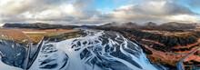 Iceland, Skeidara River, Glacier River, Panoramic View