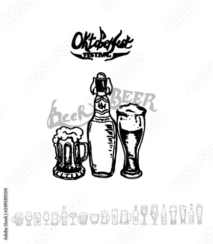 Deurstickers Kerstmis Set of beer objects. Hand drawn illustration. Set of craft beer bottles in ink hand drawn style.
