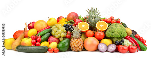 Fresh tasty vegetables, fruits and berries isolated on white background.