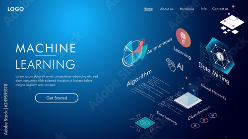 Fotografie, Obraz  Machine learning, Ai, Data mining, algorithm, algorithm, neural network, deep learning and autonomous