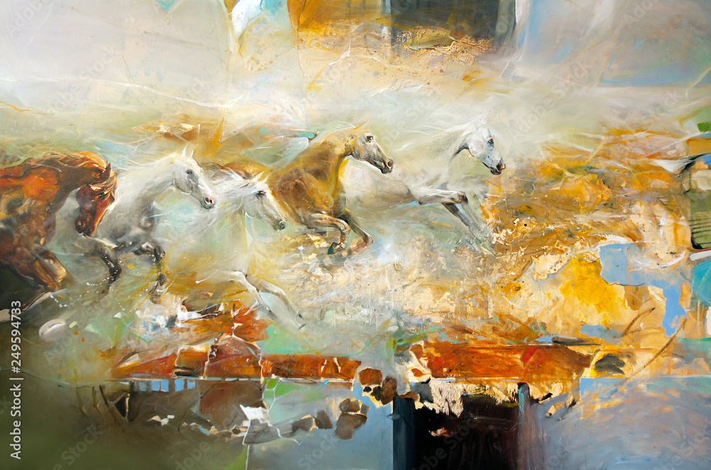Fototapeta Modern painting with horses