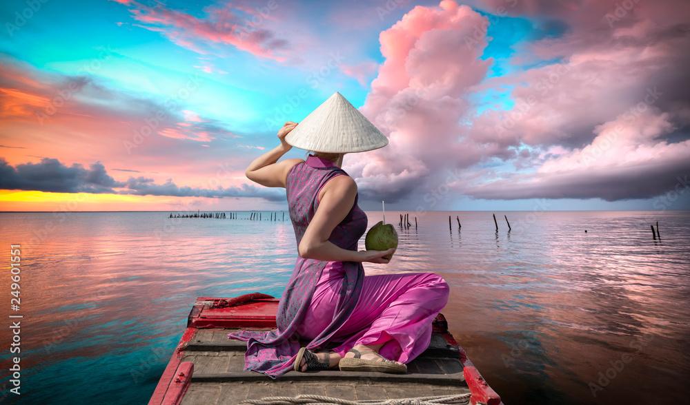 Fototapeta beach, palm, sea, tropical, vacation, tree, sky, woman, girl, dream, island, couple, resort, ocean, beautiful, night, retreat, bungalow, tahiti, blue, summer, water, travel, thailand, recreation, natu