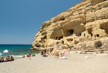 The Caves At Matala Beach, Crete Island, Greece