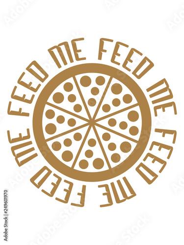 Fotografie, Obraz  salami pizza fast food ungesund ring kreis rund logo feed me design füttere mich