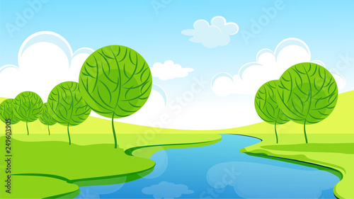 Poster Lime groen landscape, summer, spring, water, river, natural, mountain, reflection, day, light, house, grass, forest, sun, vacation, agriculture, background, banner, poster, clouds, cartoon, country, curved, dawn