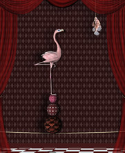 Surreal Stage With A Flamingo Looking For Food - 3D Illustration