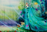 Scenic view of fantasy world with fairies and ethereal animals. Handmade airbrushing illustration for children's book.