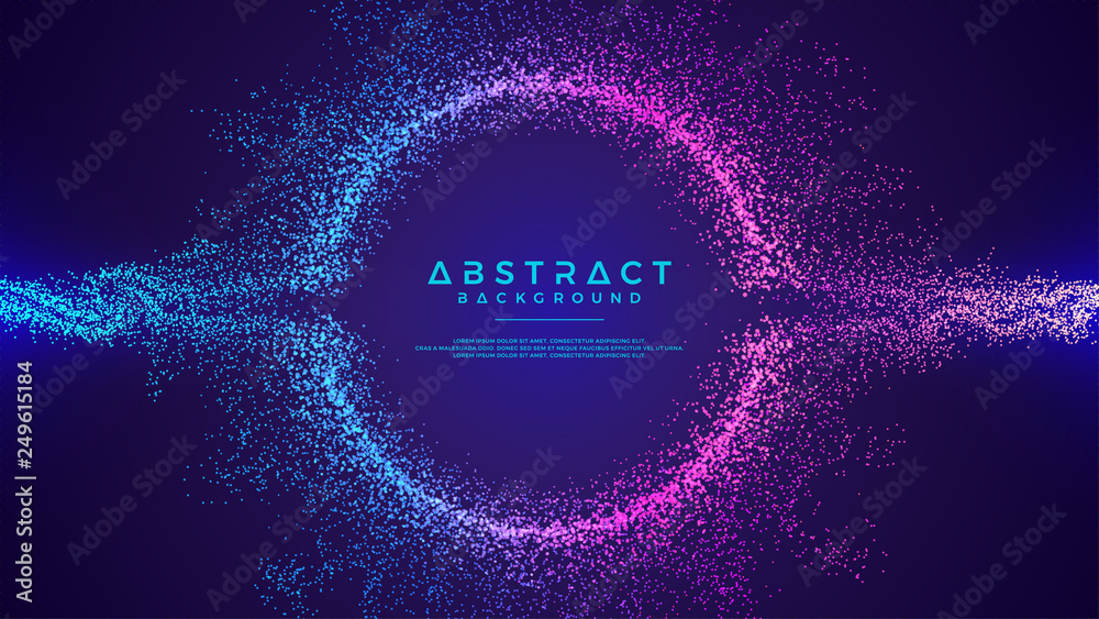 Fototapeta Dynamic abstract liquid flow particles background. Shining abstract particle flow background. Futuristic background with dots combination. Eps10 Vector background.