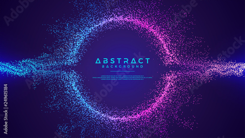 Cuadros en Lienzo Dynamic abstract liquid flow particles background