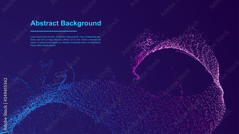 Fototapety, obrazy: Dynamic abstract liquid flow particles background. Shining abstract particle flow background. Futuristic background with dots combination. Eps10 Vector background.