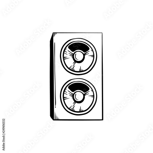 Stereo speakers for playing loud club or concert music in sketch style Canvas Print