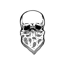 Human Skull With Bandana As Fa...