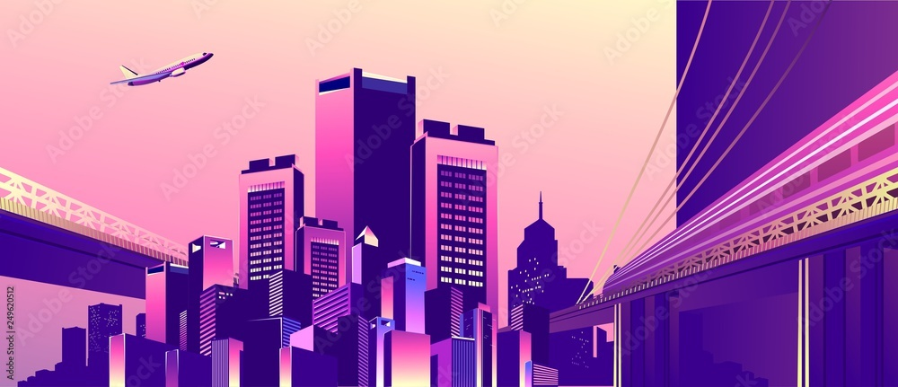 Fototapety, obrazy: abstract buildings banner